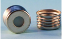"""Picture of 18mm Silver Magnetic (Metal) Closure with 0.060"""" Blue PTFE/Silicone Liner (Shore A 45)"""