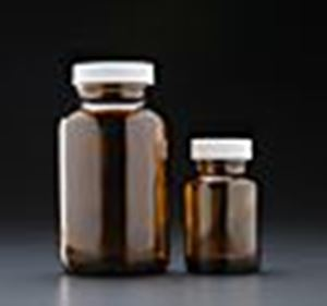 Picture of 1 oz, 30cc Amber Packer, 28-400mm Thread, Phenolic Closure, PE Cone Lined